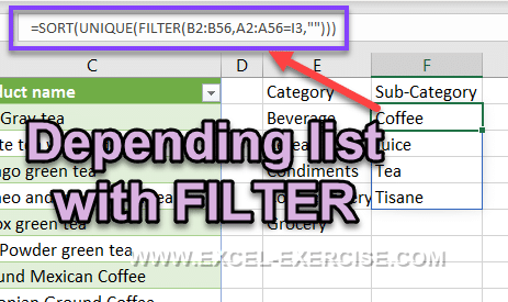 Depending list with the FILTER function