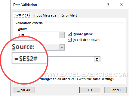 Drop down list with dynamic array references