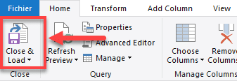 Power Query menu Close and Load