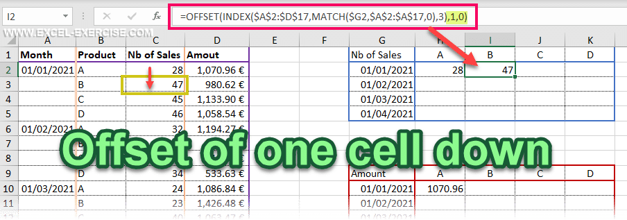 Offset of one cell down after the lookup