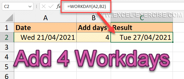 Add 4 workdays to a date