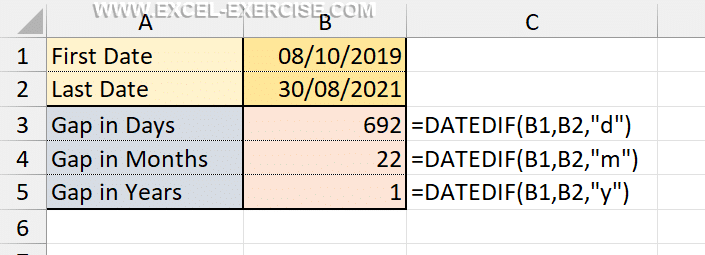 Difference between 2 dates with DATEDIF