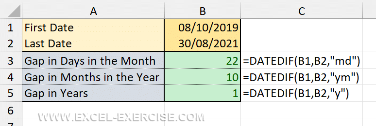 Difference in year months days with DATEDIF